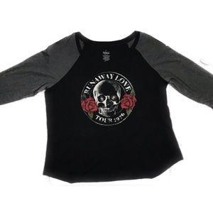 Torrid runaway love skull rose tour raglan shirt 2
